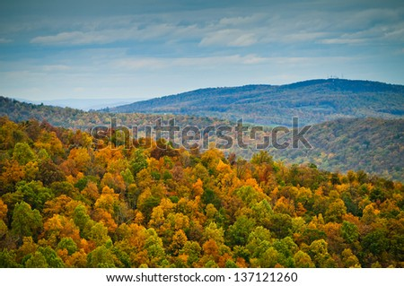 Changing leaves over Shenandoah National Park. - stock photo