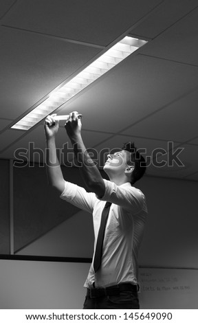 changing light in office - stock photo