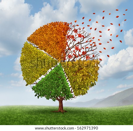 Changing market concept and losing business pie chart as an aging green tree with leaves turning yellow to red and falling off as a change metaphor in investing conditions as a financial graph chart. - stock photo