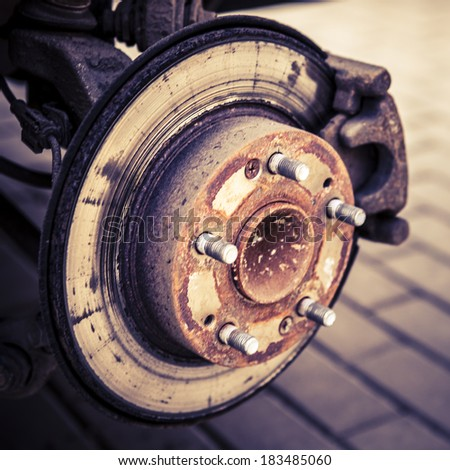 Changing tires or wheel before winter or spring or changing brakes - stock photo