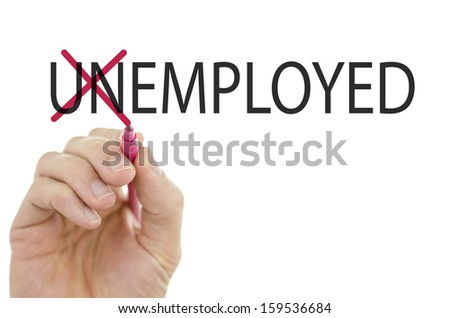 Changing word Unemployed into Employed by crossing off letters un. - stock photo