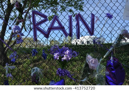 Chanhassen - May 1:  A memorial to Prince as seen on May 1, 2016 at Paisley Park, in Chanhassen, Minnesota. - stock photo