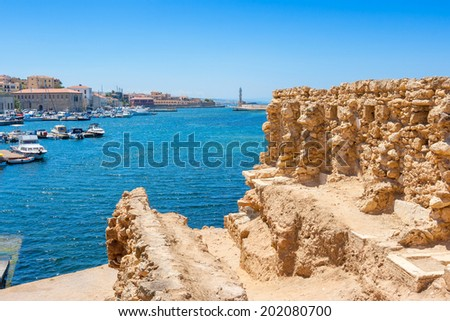 Chania harbor from old walls. Crete, Greece, Europe - stock photo