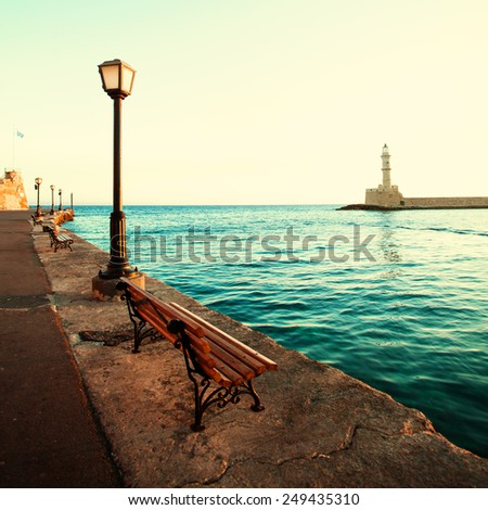 Chania lighthouse and promenade, impressions of Greece - stock photo