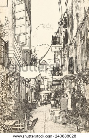 CHANIA narrow pedestrianized street  in the old Muslim - stock photo