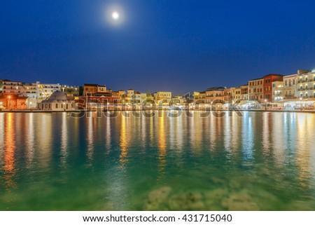 Chania. The old harbor at night.
