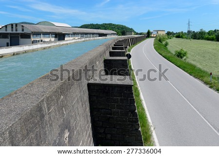 Channel hydraulic free surface - stock photo