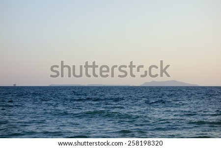 Channel Islands in evening hour as seen from Mandalay Beach, Oxnard, California