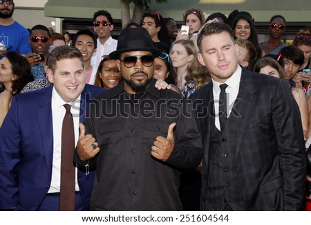 "Channing Tatum, Ice Cube and Jonah Hill at the Los Angeles premiere of ""22 Jump Street"" held at the Regency Village Theatre in Los Angeles on June 10, 2014 in Los Angeles, California."