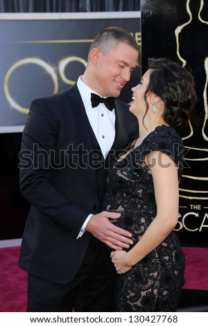 Channing Tatum, Jenna Dewan-Tatum at the 85th Annual Academy Awards Arrivals, Dolby Theater, Hollywood, CA 02-24-13 - stock photo