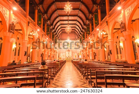 CHANTABURI,THAILAND - JANUARY 27 :The interiors of Catholic church Maephra Patisonti Niramon is located in Chantaburi province, Thailand at January 27,2015.This building was built with French Style
