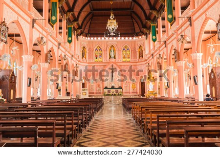 CHANTABURI,THAILAND - MAY 10 :The interiors of Catholic church Maephra Patisonti Niramon is located in Chantaburi province, Thailand at May 10,2015.This building was built with French Style