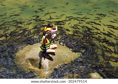 CHANTHABURI, THAILAND- AUGUST 2, 2015: Namtok Phlio National park, the top 10 of favorite place in thailand, most famous tourist place of the eastern area on August 2, 2015 in Chantaburi, Thailand  - stock photo