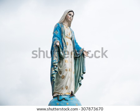 Chanthaburi, Thailand blessed virgin mary statue - stock photo