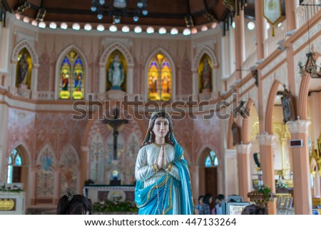 Chanthaburi, Thailand - May 6, 2016 : The Virgin Mary statue at The Cathedral of the Immaculate Conception is a Roman Catholic Diocese of Chanthaburi. - stock photo