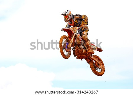 CHANTHABURI, THAILAND - NOV 25: Unidentified rider participates no.7 in the final round of the 2012 thailand motocross championship on November 25, 2012 in Chanthaburi, Thailand.