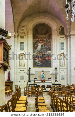 CHANTILLY, FRANCE - 9 MAY, 2014: Interior of Church of Our Lady of Assumption (L'Eglise Notre-dame De Chantilly, 1692) - Catholic parish church located in Chantilly. This is first church in Chantilly.