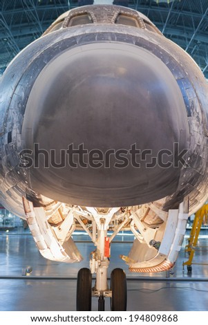 Chantilly-USA,VA - September, 26: The space Shuttle Discovery on display at the Smithsonian Air and Space Museum Steven F. Udvar-Hazy Center in Chantilly, VA in September, 26, 2013, United States - stock photo