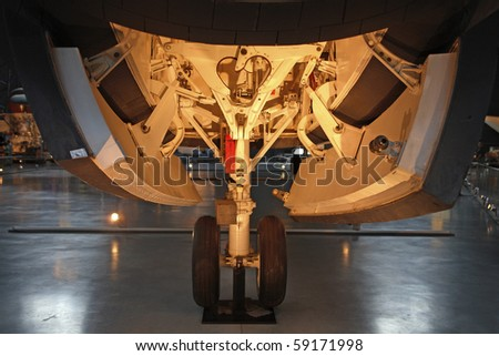 CHANTILLY, VIRGINIA - AUGUST 15: Front Wheel section of Space Shuttle Enterprise  at the National Air and Space Museum's Steven F. Udvar-Hazy Center.  Taken August 15, 2007 in Chantilly, Virginia. - stock photo