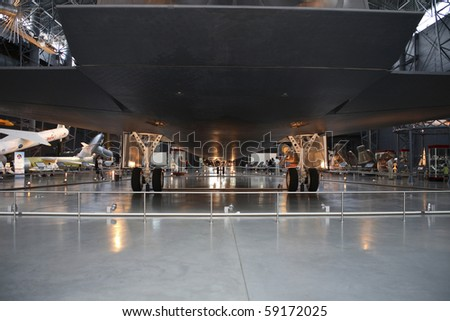 CHANTILLY, VIRGINIA - AUGUST 15: Shuttle landing gear at the National Air and Space Museum's Steven F. Udvar-Hazy Center.   Photographed August 15, 2007 in Chantilly, Virginia. - stock photo