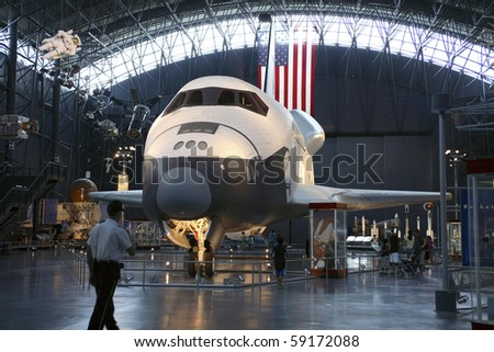 CHANTILLY, VIRGINIA - AUGUST 15: Space Shuttle Enterprise at the National Air and Space Museum's Steven F. Udvar-Hazy Center.   Taken August 15,2007 in Chantilly, Virginia. - stock photo