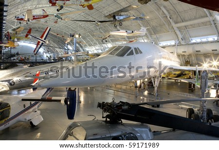 CHANTILLY, VIRGINIA - AUGUST 15: The Concorde at the National Air and Space Museum's Steven F. Udvar-Hazy Center.   shot August 15, 2007 in Chantilly, Virginia. - stock photo