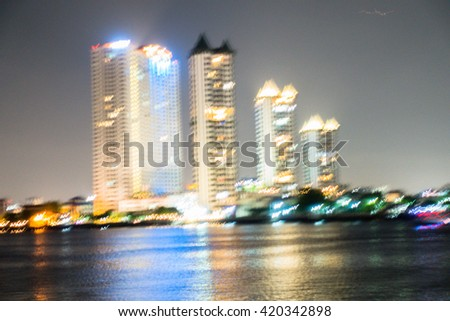 Chao Phraya River at Night blur bokeh