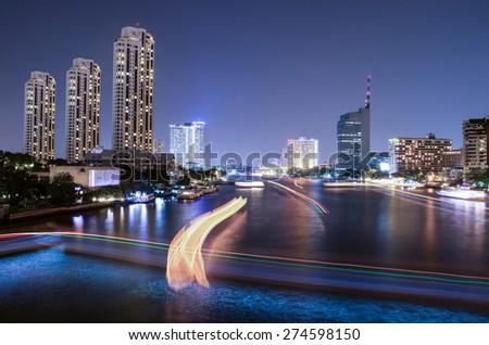 Chao Phraya River night scene with beautiful city view at Bangkok Thailand - stock photo