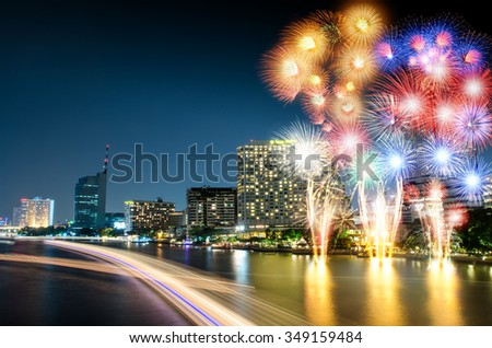 Chao Phraya River night scene with  beautiful  fireworks city view at Bangkok Thailand