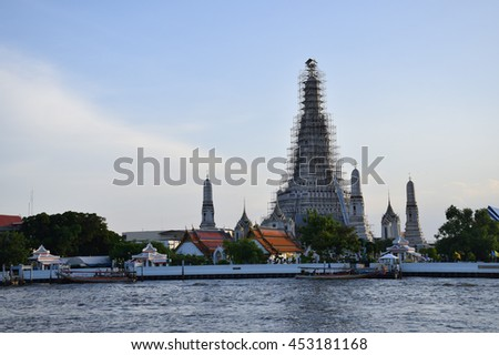 Chaophraya River in front Wat Arun, Temple of Dawn, Bangkok, central of Thailand  - stock photo
