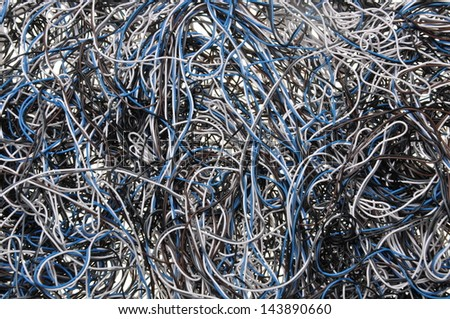 Chaos of network cables - stock photo