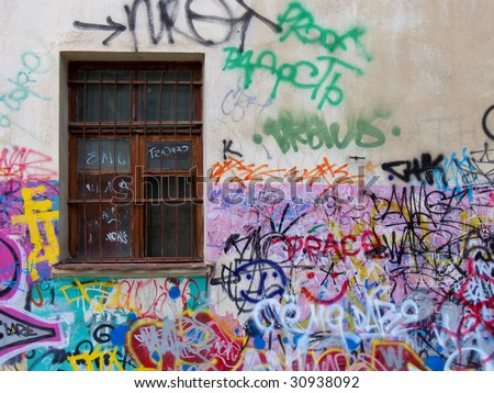 Chaos on the old wall. - stock photo