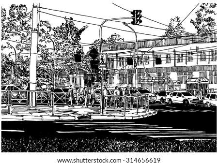 Line Art Illustration Style : Chaos traffic urban scene black white stock illustration 314656619