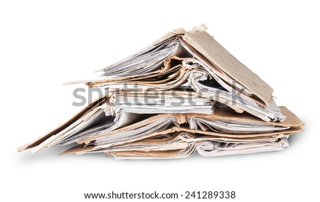 Chaotic Stacked And One Open Old Files Isolated On White Background