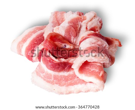 Chaotic stacked strips of bacon isolated on white background - stock photo
