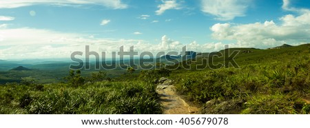 Chapada Diamantina, Bahia, Brazil -Panoramic View of Pai Inacio Mountain Trekking (Morro do Pai Inacio) - stock photo