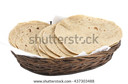 chapati in basket isolate on white  - stock photo