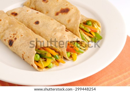 Chapati wrap with Vegetarian curry