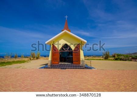 Chapel Alto Vista, tourist attraction of Aruba, ABC Islands - stock photo