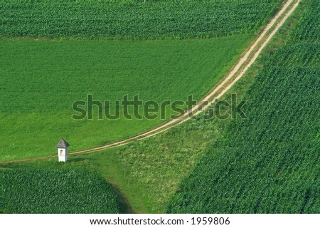 Chapel and path in green filed of corn
