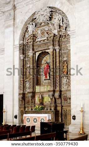 Chapel at Church and Monastery of Sao Vicente de Fora in Lisbon, Portugal - stock photo