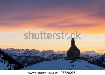 Chapel at mount Wallberg near lake Tegernsee at sunset, Bavaria, Germany