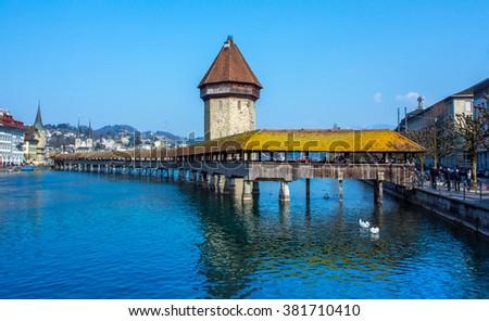 Chapel Bridge in City of Lucern, Switzerland - stock photo