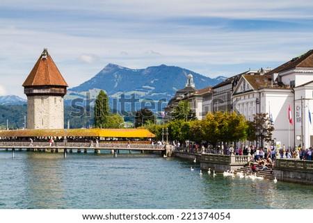 Chapel Bridge in Lucerne, Switzerland - stock photo