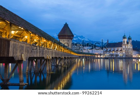 Chapel Bridge of Luzern in Switzerland - stock photo