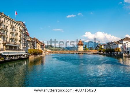 Chapel Bridge on River Reuss, Lucerne, Switzerland - stock photo