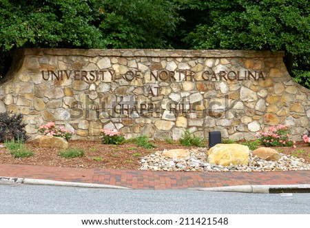 CHAPEL HILL, NC  AUGUST 8: An entrance to the University of North Carolina at Chapel Hill located in Chapel Hill, North Carolina on August 8, 2014. UNC is a coeducational public research university. - stock photo