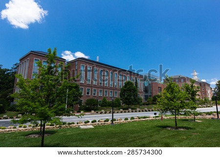 CHAPEL HILL, NC, USA - JUNE 6: Hooker Research Center and Rosenau Hall at the University of North Carolina at Chapel Hill in Chapel Hill, NC, on June 6, 2015 in Chapel Hill, NC, USA.