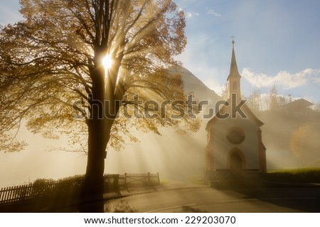 Chapel in the morning light - stock photo