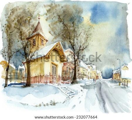 Chapel in winter, watercolor illustration - stock photo